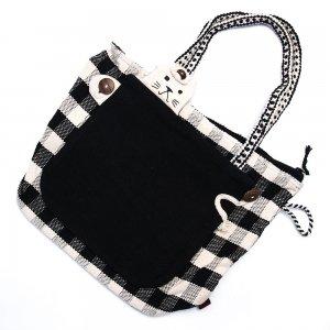 <フェアトレード>WSDO 手織布のアニマルトートバッグ(猫・ブラック)