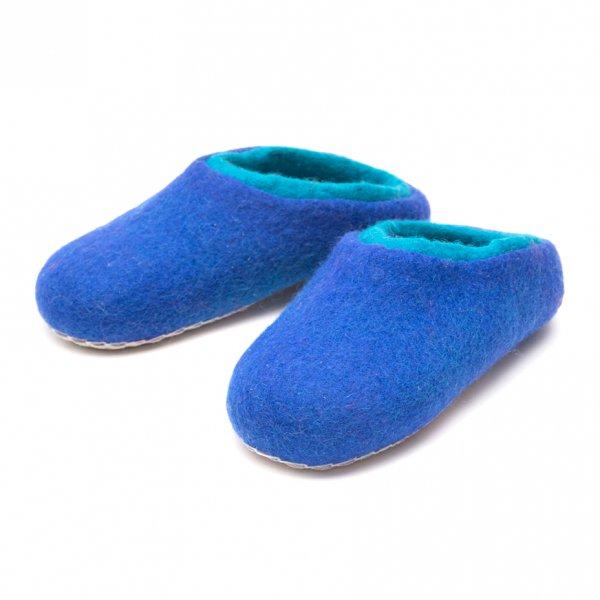肌ざわりの優しい暖かフェルトルームシューズ(ブルー)