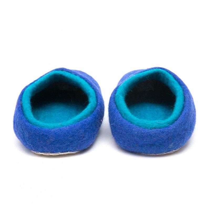 画像3:肌ざわりの優しい暖かフェルトルームシューズ(ブルー)