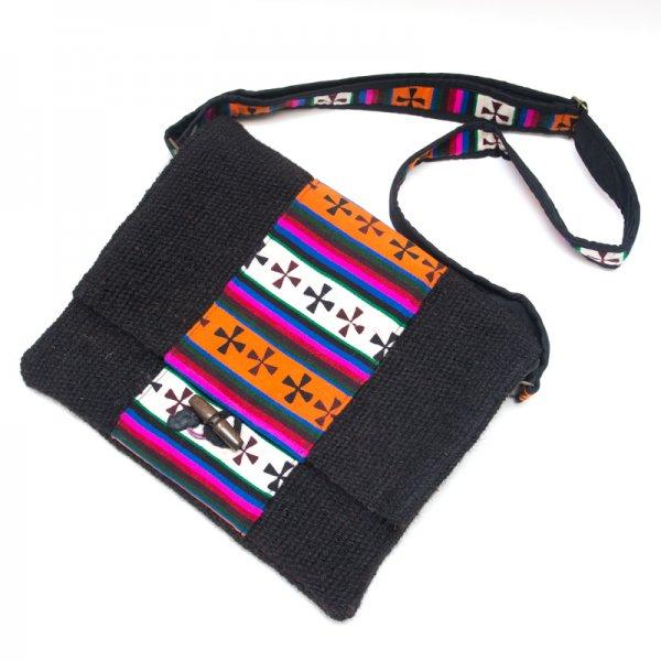 DYH ヤク(YAK)ウールのチベタンバティックショルダーバッグ (L size)