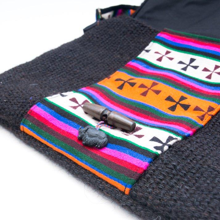 画像2:DYH ヤク(YAK)ウールのチベタンバティックショルダーバッグ (L size)