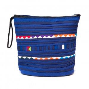 リス族刺繍のマチ付きカラフルポーチ S-size(パープル)