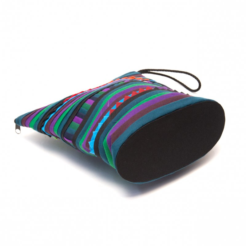 リス族刺繍のマチ付きカラフルポーチ S-size(ダークグリーン)