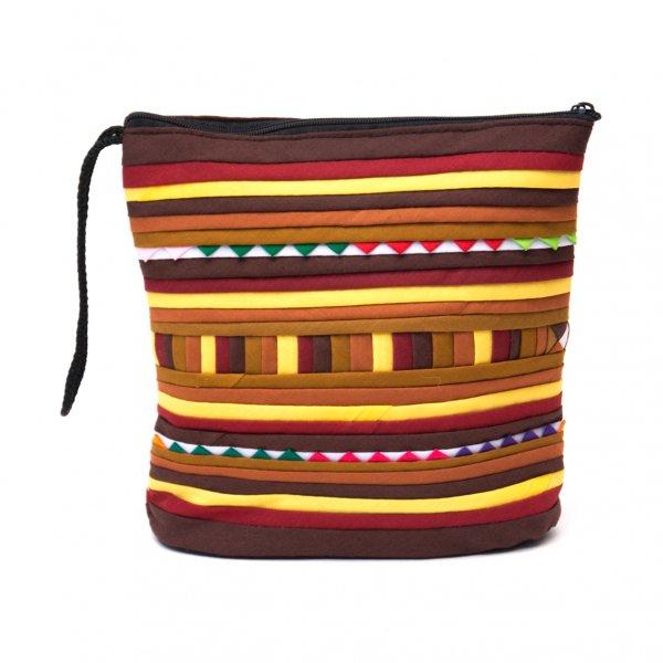 リス族刺繍のマチ付きカラフルポーチ S-size(ブラウン/イエロー)