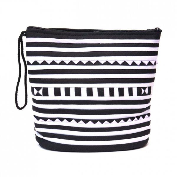 リス族刺繍のマチ付きカラフルポーチ S-size(ホワイト/ブラック)Type.2