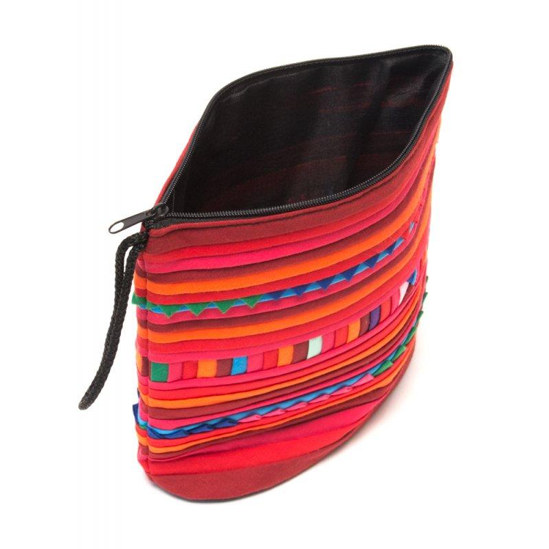 画像4:リス族刺繍のマチ付きカラフルポーチ S-size(レッド/オレンジ)
