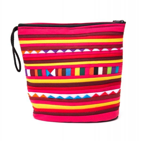 リス族刺繍のマチ付きカラフルポーチ S-size(レッド/イエロー)