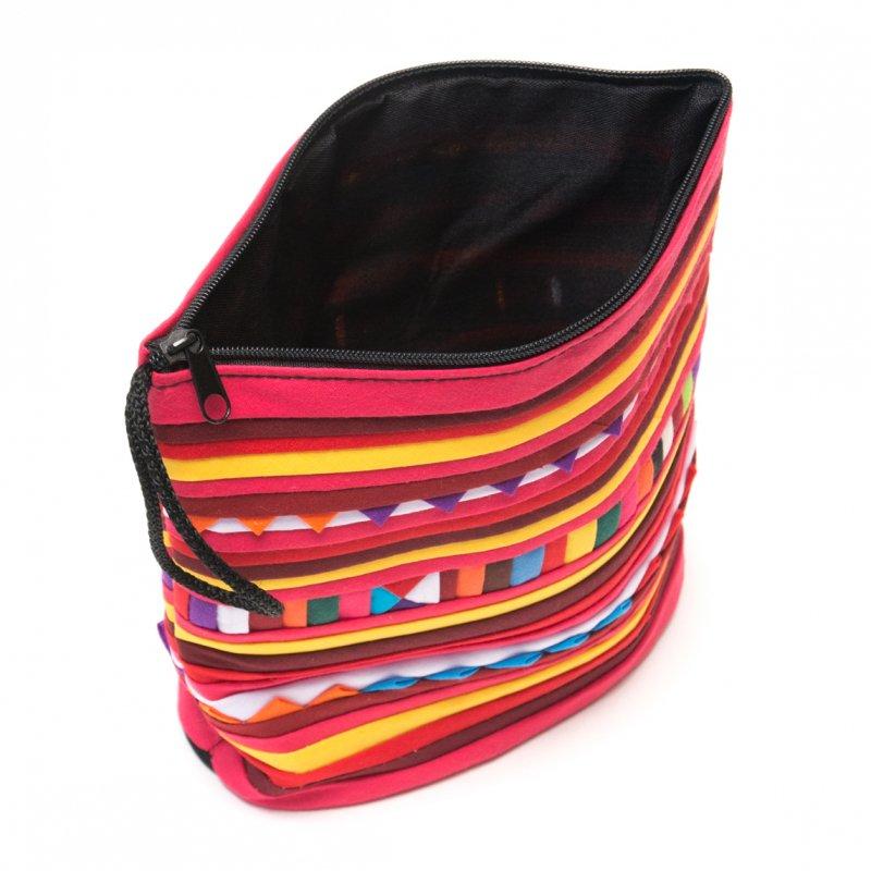画像4:リス族刺繍のマチ付きカラフルポーチ S-size(レッド/イエロー)