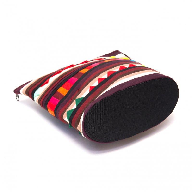 画像3:リス族刺繍のマチ付きカラフルポーチ S-size(ダークパープル/ブラック)