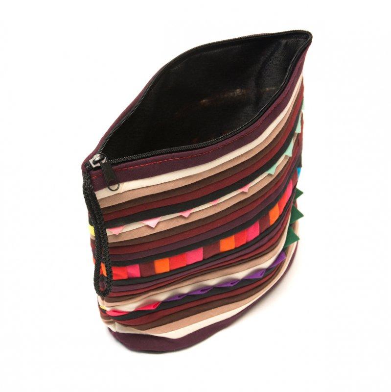 画像4:リス族刺繍のマチ付きカラフルポーチ S-size(ダークパープル/ブラック)