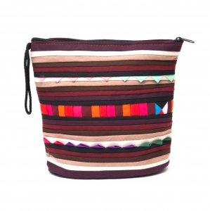 リス族刺繍のマチ付きカラフルポーチ S-size(ダークパープル/ブラック)
