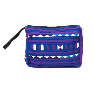 リス族刺繍のカラフルコスメポーチ(パープル)