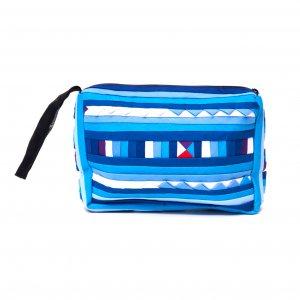 リス族刺繍のカラフルコスメポーチ(ブルー)