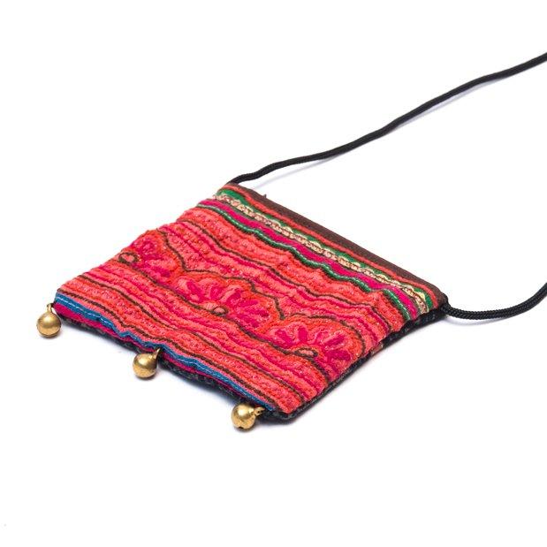 画像2:ThongPua モン族ヴィンテージ刺繍のネックポーチ Type.14
