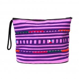 リス族刺繍のマチ付きカラフルポーチ L-size(ライトパープル)