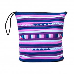 リス族刺繍のマチ付きカラフルポーチ L-size(パープル/ブルー)