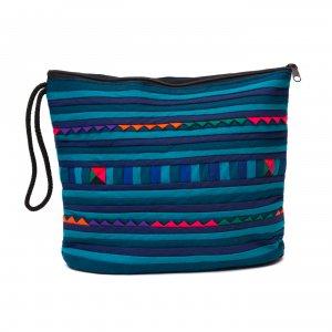 リス族刺繍のマチ付きカラフルポーチ L-size(ミッドナイトグリーン)