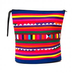 リス族刺繍のマチ付きカラフルポーチ L-size(ブルー/レッド)