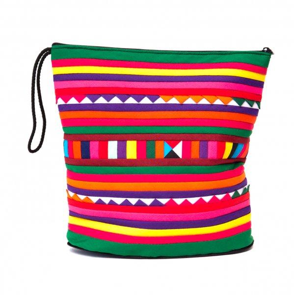 リス族刺繍のマチ付きカラフルポーチ L-size(グリーン/レッド)