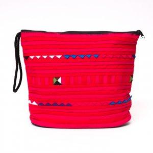 リス族刺繍のマチ付きカラフルポーチ L-size(レッド)