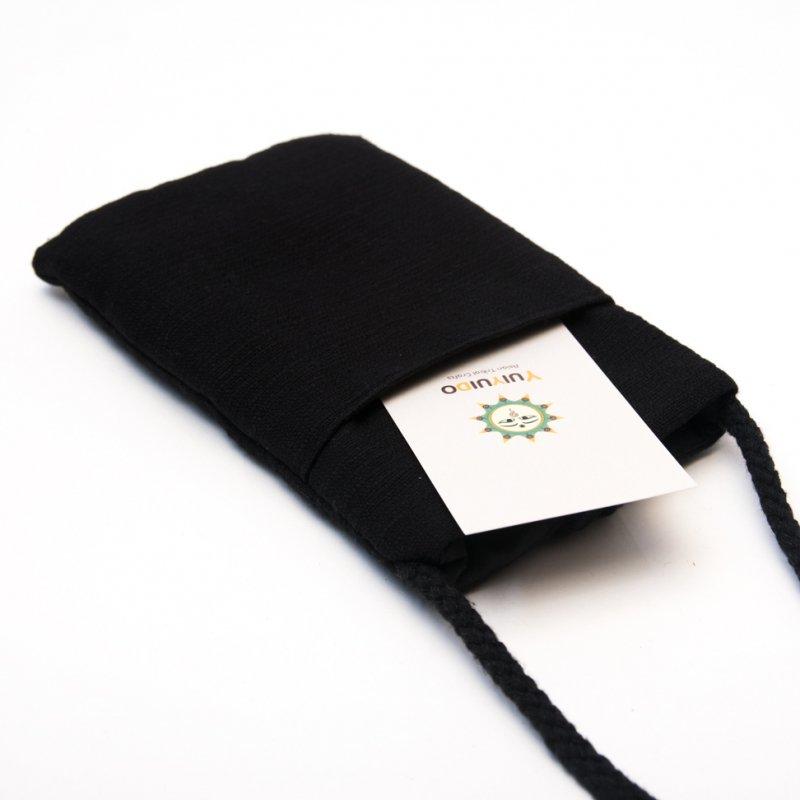画像3:ThongPua モン族刺繍古布のスマホポーチ(ブラック)Type.1