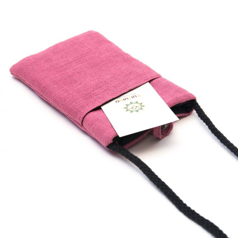 画像3:ThongPua モン族刺繍古布のスマホポーチ(ピンク)Type.1