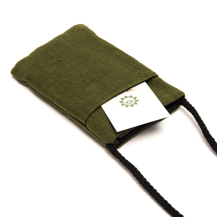 画像3:ThongPua モン族刺繍古布のスマホポーチ(グリーン)