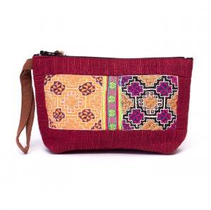 ThongPua モン族民族刺繍古布の化粧ポーチ(ワインレッド)