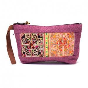 ThongPua モン族民族刺繍古布の化粧ポーチ(ピンク)