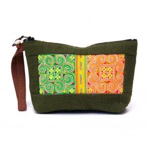 ThongPua モン族民族刺繍古布の化粧ポーチ(グリーン)