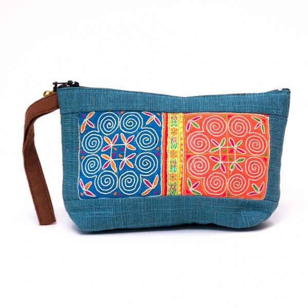 ThongPua モン族民族刺繍古布の化粧ポーチ(ブルー)