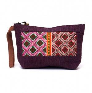 ThongPua モン族民族刺繍古布の化粧ポーチ(パープル)