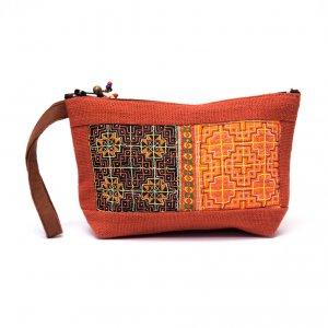 ThongPua モン族民族刺繍古布の化粧ポーチ(オレンジ)