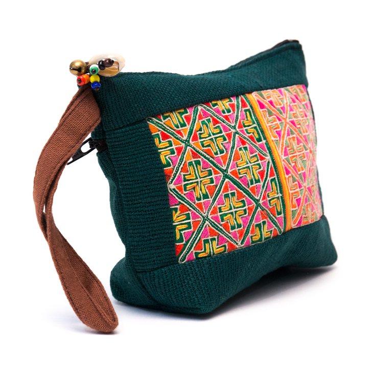 画像2:ThongPua モン族民族刺繍古布の化粧ポーチ(ダークグリーン)