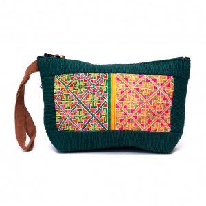 ThongPua モン族民族刺繍古布の化粧ポーチ(ダークグリーン)