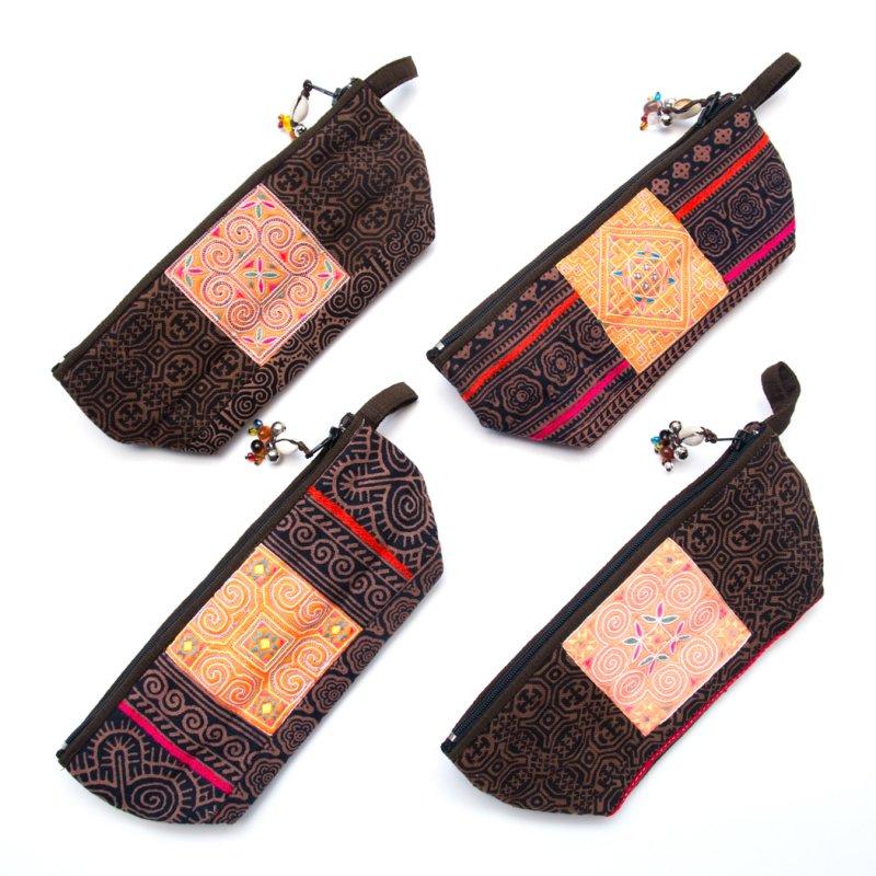 画像3:ThongPua 「タイの山岳民族」モン族の刺繍古布ペンケース(ブラウン)