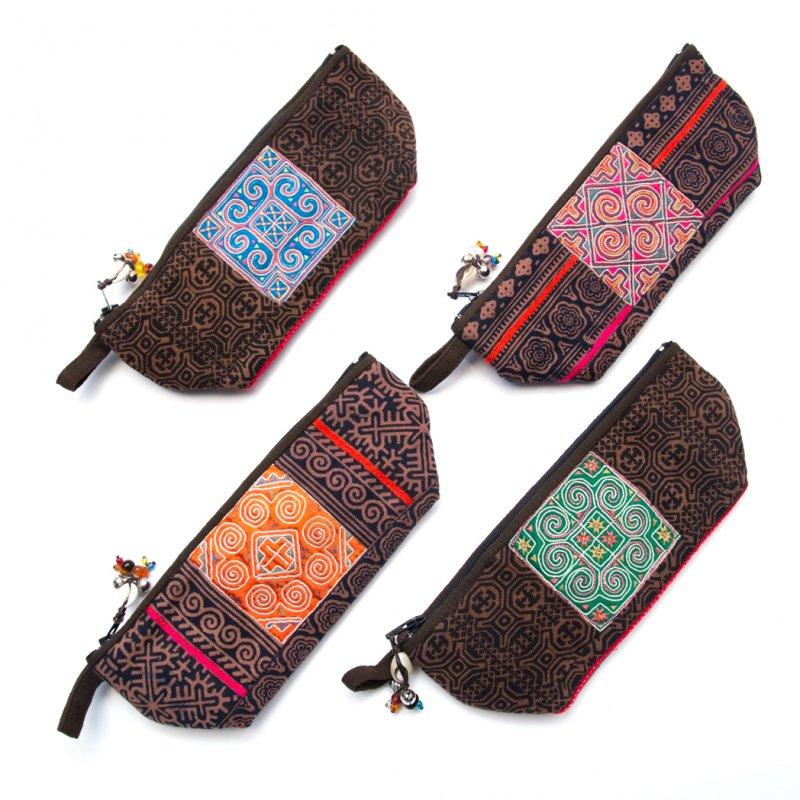 画像4:ThongPua 「タイの山岳民族」モン族の刺繍古布ペンケース(ブラウン)