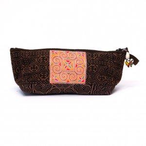 ThongPua 「タイの山岳民族」モン族の刺繍古布ペンケース(ブラウン)