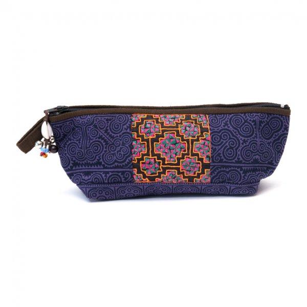 ThongPua 「タイの山岳民族」モン族の刺繍古布ペンケース(パープル)