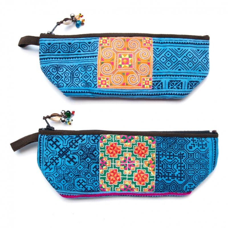 画像4:ThongPua 「タイの山岳民族」モン族の刺繍古布ペンケース(ブルー)