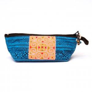 ThongPua 「タイの山岳民族」モン族の刺繍古布ペンケース(ブルー)