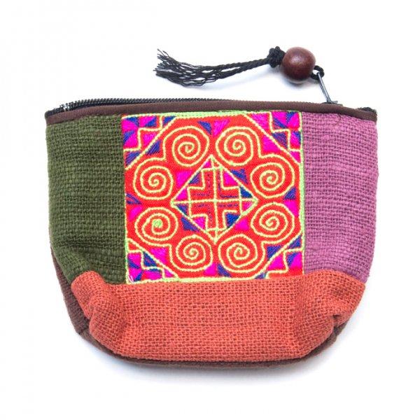ThongPua モン族アンティーク刺繍の小物ポーチ Type.3