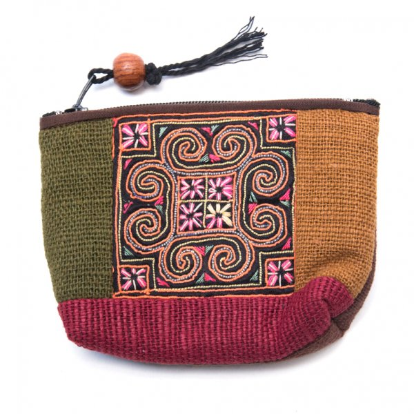 ThongPua モン族アンティーク刺繍の小物ポーチ Type.4