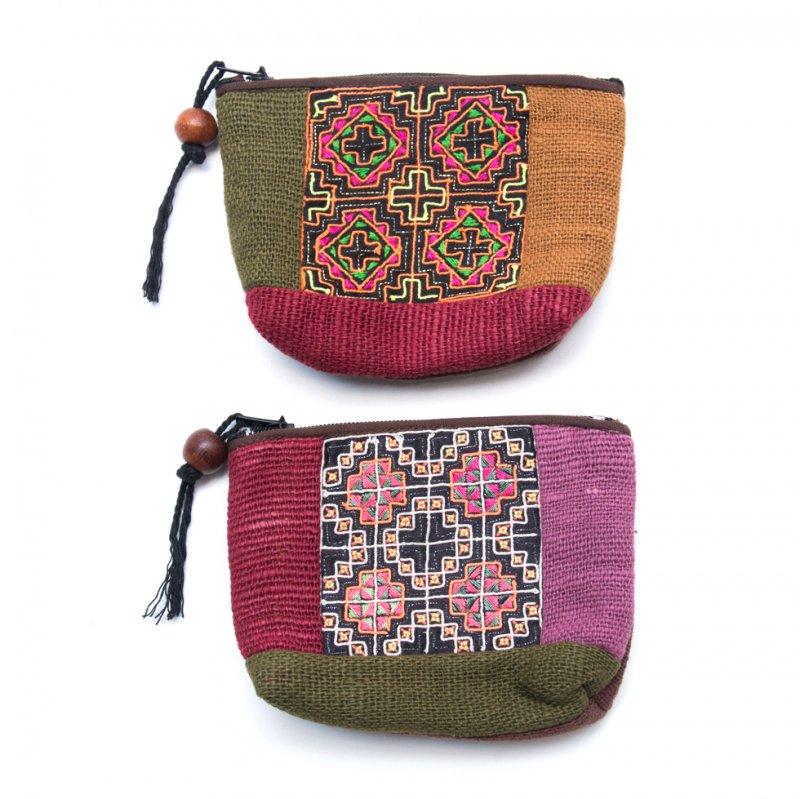 画像4:ThongPua モン族アンティーク刺繍の小物ポーチ Type.5