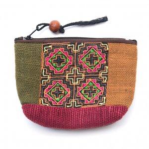 ThongPua モン族アンティーク刺繍の小物ポーチ Type.5