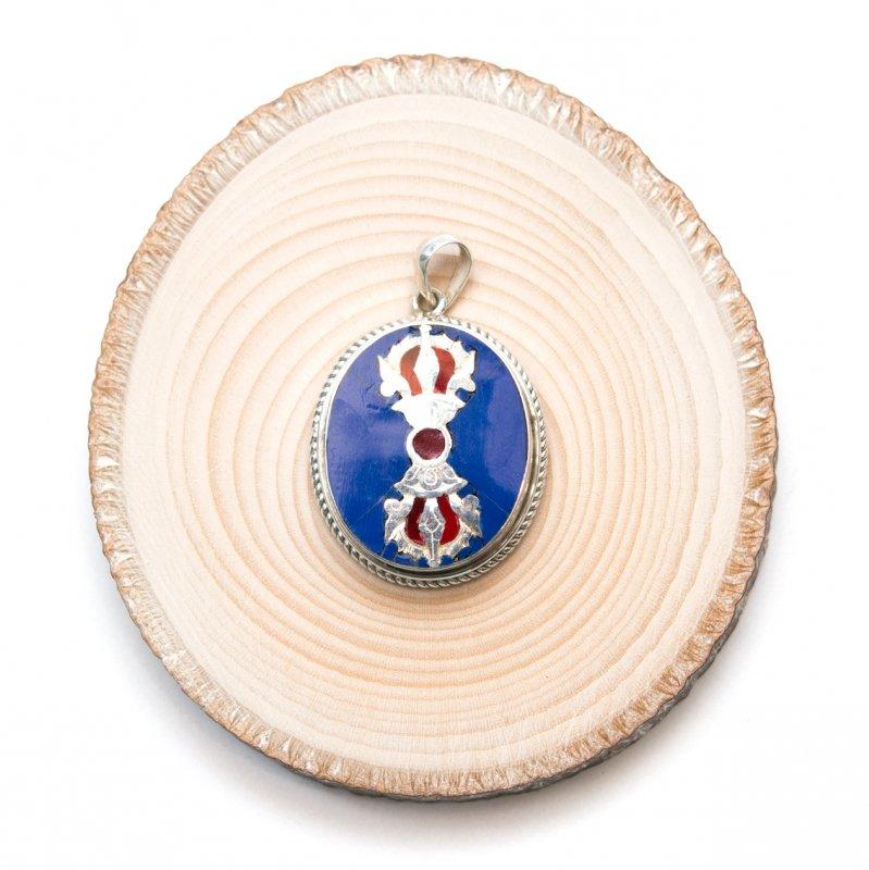 【チベット密教仏具】ドルジェが刻まれたペンダントトップ(ラピスラズリ)