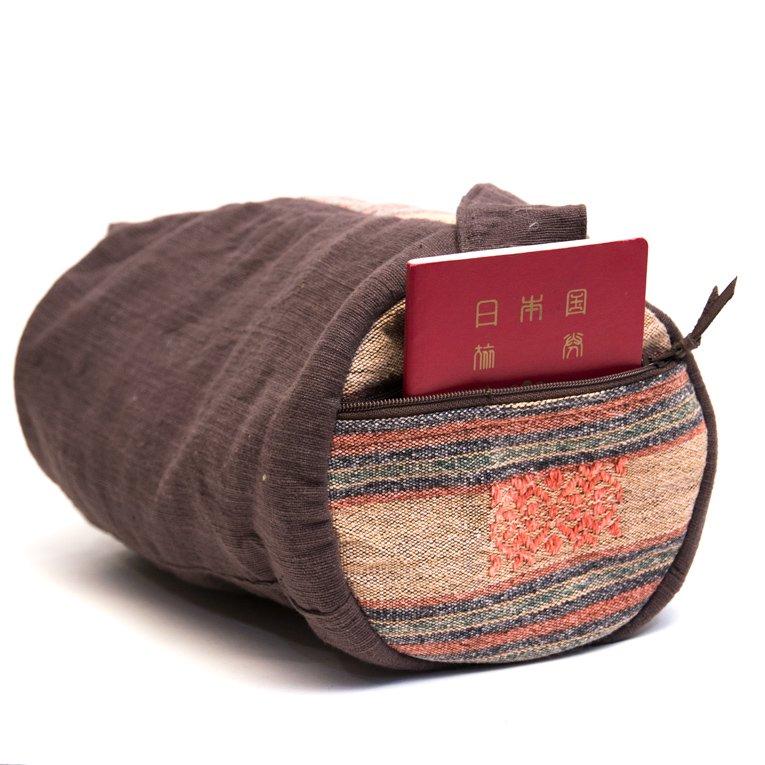 画像3:THANGEN ナガ族刺繍のミニドラムバッグ Type.1