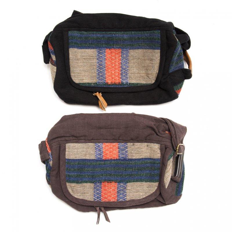 画像4:THANGEN ナガ族刺繍のミニドラムバッグ Type.2
