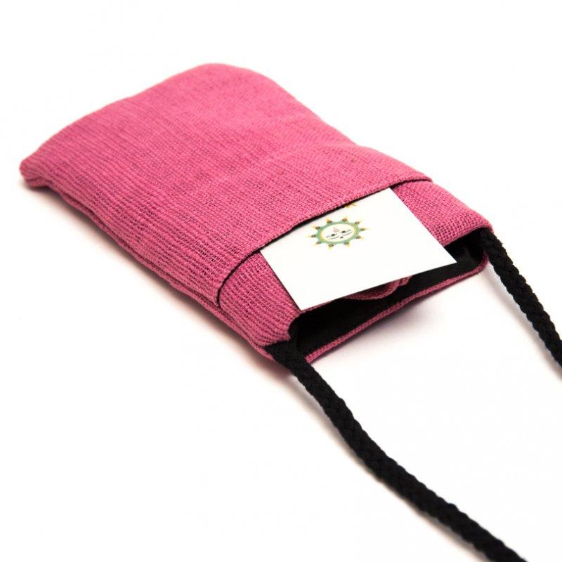 ThongPua モン族刺繍古布のスマホポーチ(ピンク)Type.2