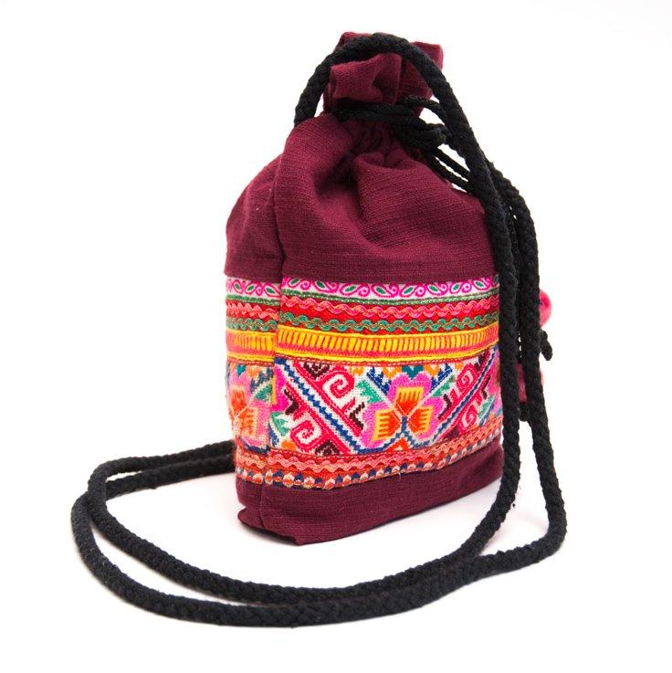 画像2:ThongPua モン族刺繍古布の巾着マグポーチ